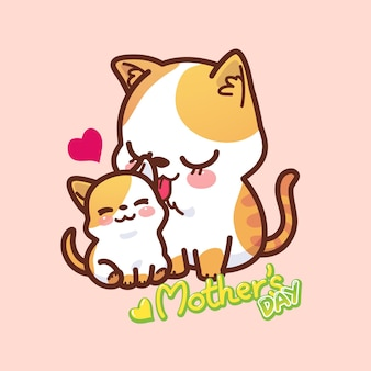 Мама кошка и котенок день матери