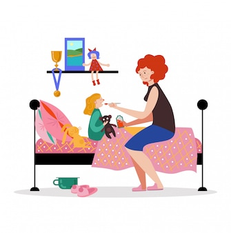 母文字人ケア病気の娘、女性は白、イラストのスプーン薬薬を保持します。子供たちは部屋のベッドの残りを置きます。