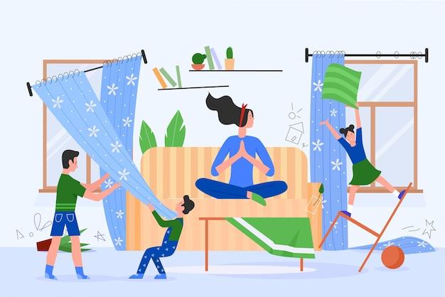 Мать-персонаж сидит в асане лотоса йоги, когда дети устраивают хаос дома