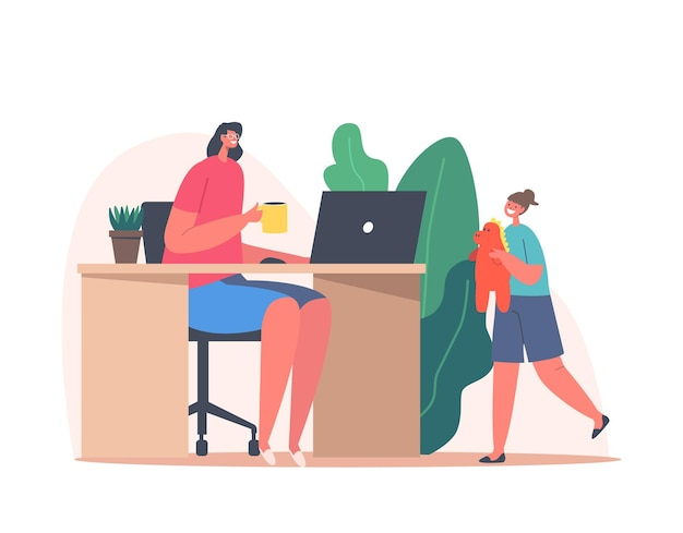 Mother character work from home office with child playing nearby. remote freelance job concept. freelancer woman