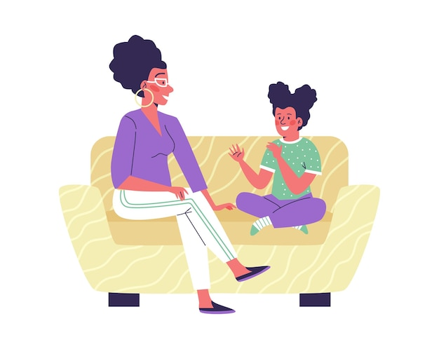 Mother and child or family counselor talking flat vector illustration isolated