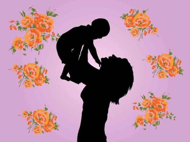 Mother and child floral graphics vector