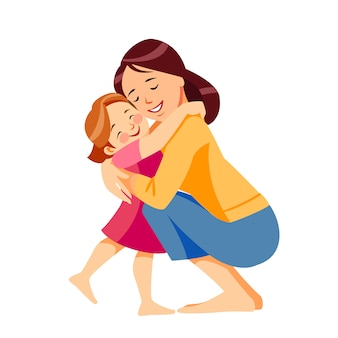 Mother and child. mom hugging her daughter with a lot of love and tenderness