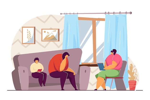 Mother and child at psychologists appointment. flat vector illustration. sad woman and boy playing with tablet, sitting on sofa, going into family therapy. psychotherapy, psychology, help concept