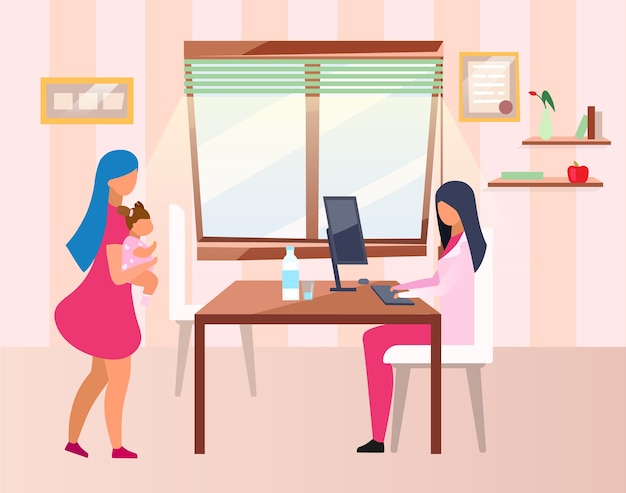 Mother and child visiting doctor flat . female pediatrician consulting young woman and toddler cartoon characters. nutritionist examining overweight kid in hospital