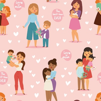 Mother and children kids day woman day  seamless pattern