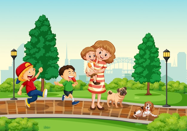 Mother and children at the park