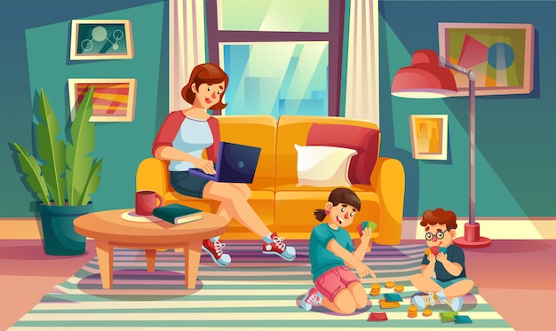 Mother children spend summer weekend time at home