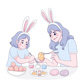 Mother and daughter cartoon easter eggs