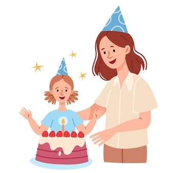 Mother and daughter celebrate a birthday happy childrens holiday the girl blows out candles on a