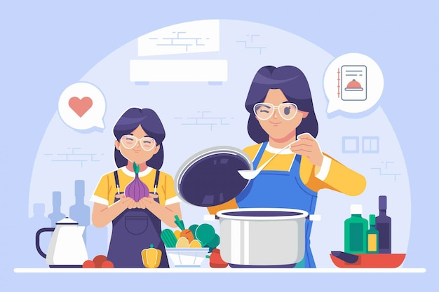 Mother and daughter cooking illustration