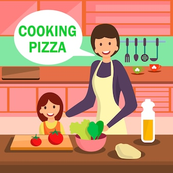 Mother and daughter cooking pizza illustration