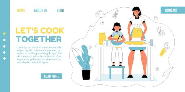 Мать дочь вместе готовить дома на кухне.