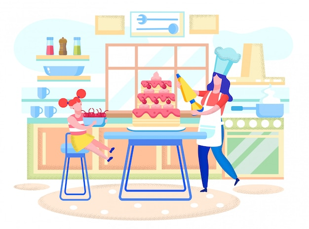 Mother and daughter decorating cake flat vector