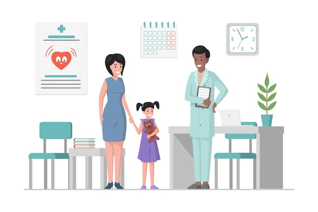Mother and daughter at a doctor appointment flat cartoon