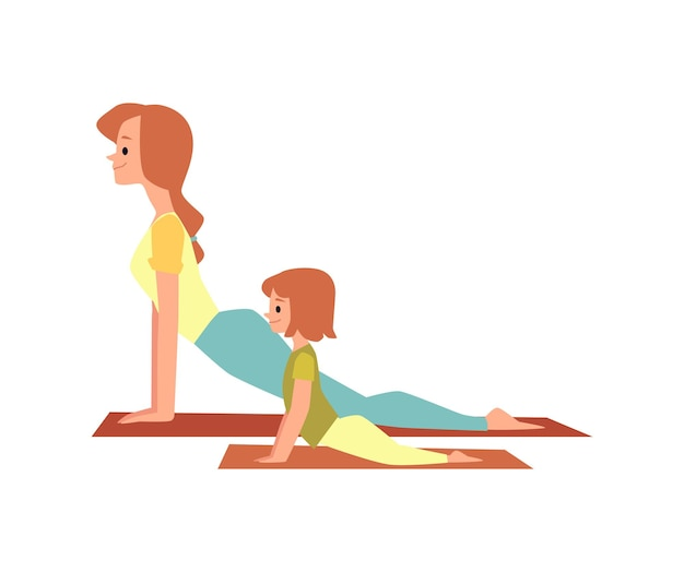 Mother and daughter doing sport exercise together, flat vector illustration isolated on white surface