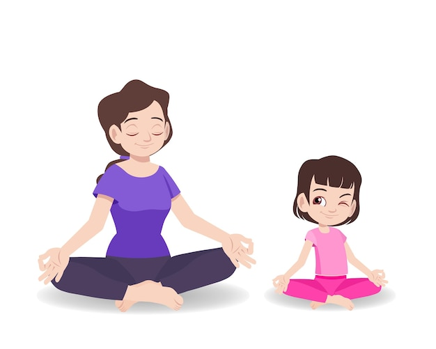Mother and daughter doing yoga meditation together