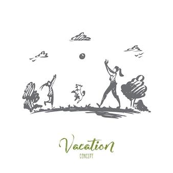 母、娘、家族、子育て、休暇の概念。手描きのお母さん、娘と犬は湖の概念スケッチの近くでボールを再生します。