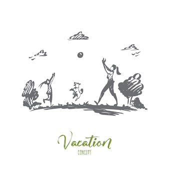 Mother, daughter, family, parenting, vacation concept. hand drawn mom, daughter and dog play ball near lake concept sketch.