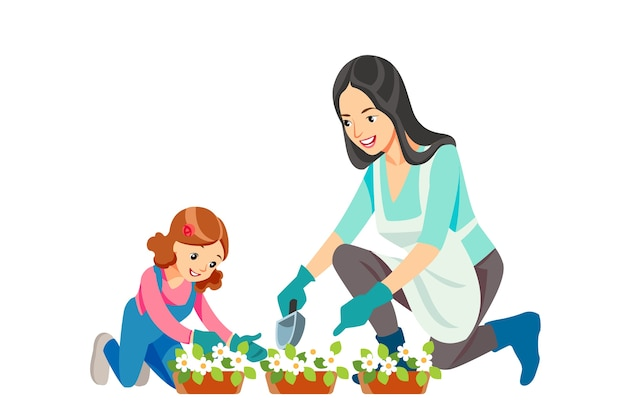 Mother and daughter gardening together planting flowers in the garden