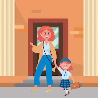 Mother and daughter going to school