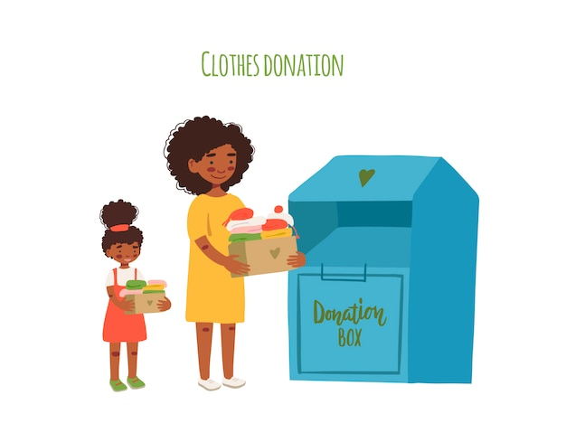 Mother and daughter holding cardboard boxes with clothing for donation