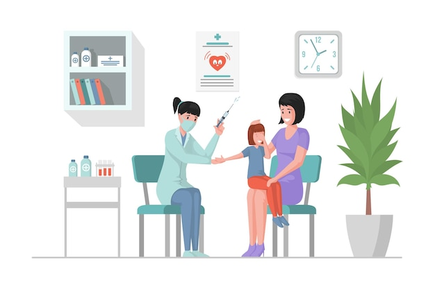 Mother and daughter in hospital flat cartoon illustration doctor