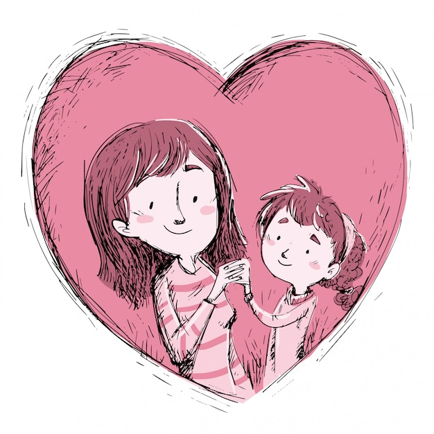 Mother and daughter inside a heart