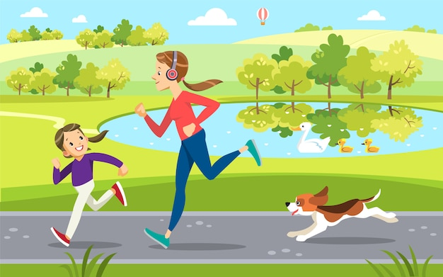 Mother and daughter jogging with cute dog in the park, along the lake.  motherhood child-rearing. Premium Vector