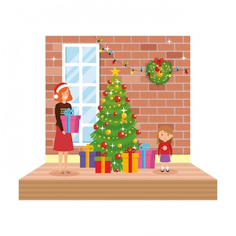 Mother and daughter living room with christmas decoration