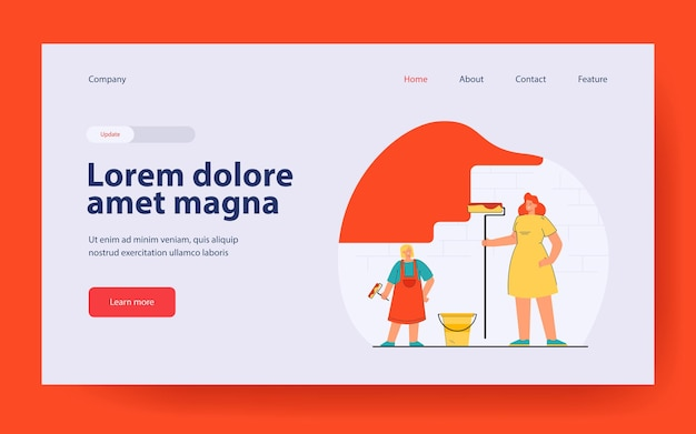 Mother and daughter painting wall landing page in flat style