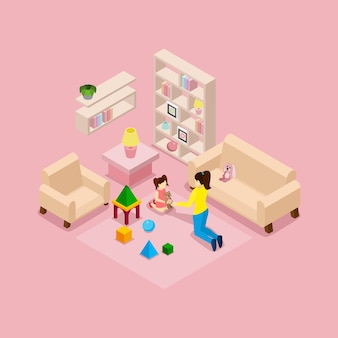 Mother and daughter playing isometric banner