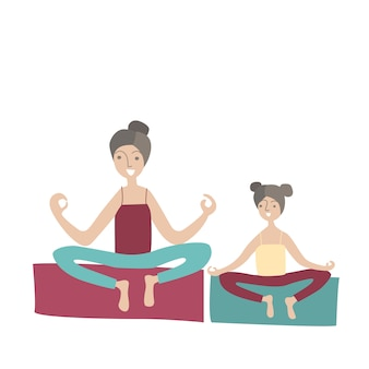 Mother and daughter practicing yoga sitting in the lotus position. family sports and physical activity with children, joint active recreation.  illustration in  style.