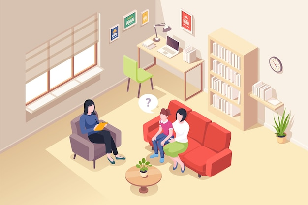 Mother and daughter at psychologist counseling people at psychologist counselor couch