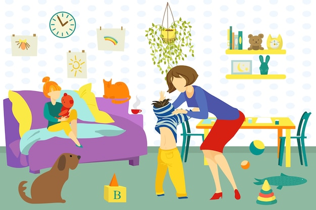 Mother, daughter and son happy together at home indoors illustration