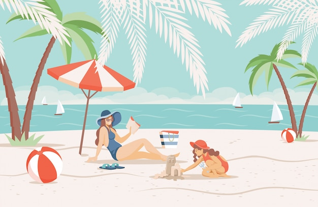 Mother and daughter spending summer vacation on sandy beach near the sea flat illustration.