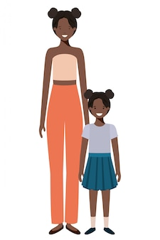 Mother and daughter standing avatar character