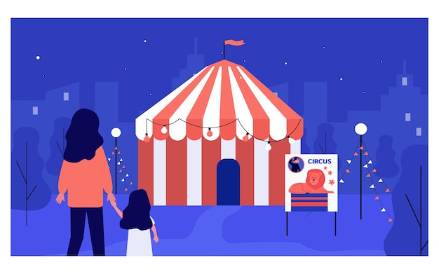 Mother and daughter standing outside circus at night. woman and kid spending time at amusement park or fair flat vector illustration. leisure, entertainment concept for banner or website design