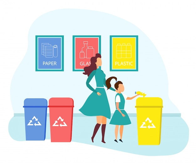 Mother and daughter throw garbage into containers