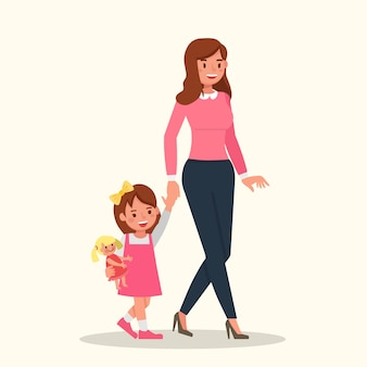 Mother and daughter walking character vector design.