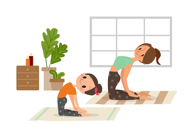 Mother and daughter, woman and child girl doing yoga exercises.  catoon illustration.