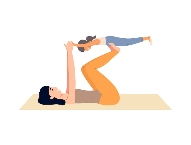 Mother and daughter on yoga mat doing airplane game pose and smiling - cartoon woman exercising together with little girl.