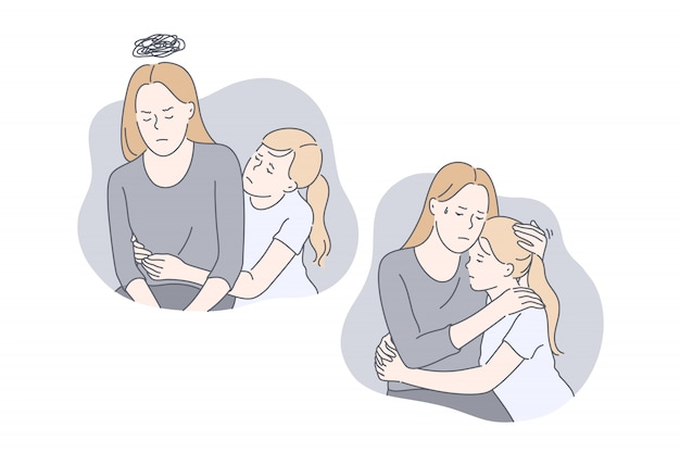 Mother and daughters relationship problem set concept