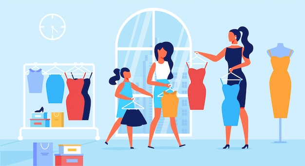 Mother and daughters shopping vector illustration
