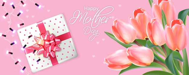 Mother day card with tulips bouquet