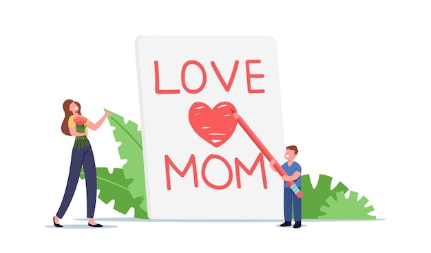 Mother day celebration concept. tiny child character writing love mom on huge notebook page, son congratulate mother with handmade greeting card and flowers bouquet. cartoon people vector illustration