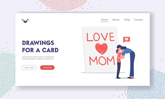 Mother day celebration landing page template. son embrace and kiss mother front of huge handmade greeting card with love mom inscription, loving family characters. cartoon people vector illustration