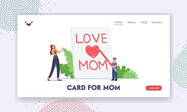 Mother day celebration landing page template. tiny child character writing love mom on huge notebook page, son congratulate mother with handmade greeting card. cartoon people vector illustration