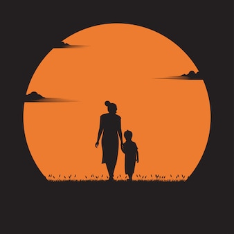 Mother day concept. mother walked in hand with her son in the sunset. holiday, silhouette, illustration flat design