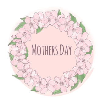 Mother day floral background frame